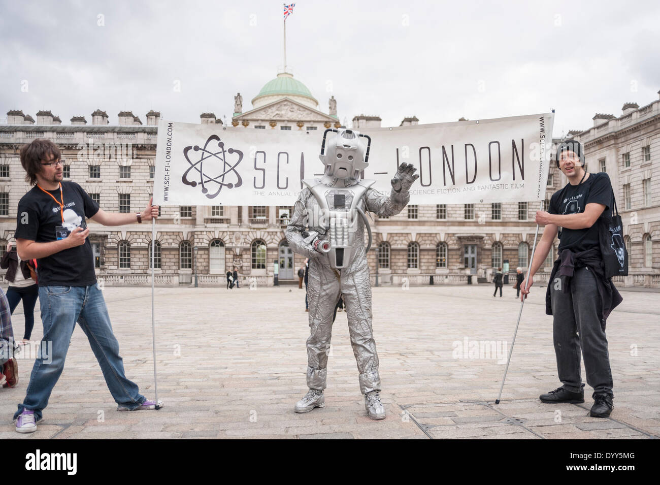 London, 27 April 2014 - people dressed as their favourite sci-fi characters take part in the Sci-Fi London 2014 costume parade starting at Somerset House and finishing at the BFI on the South Bank.  A cyberman at Somerset House.      Credit:  Stephen Chung/Alamy Live News - Stock Image
