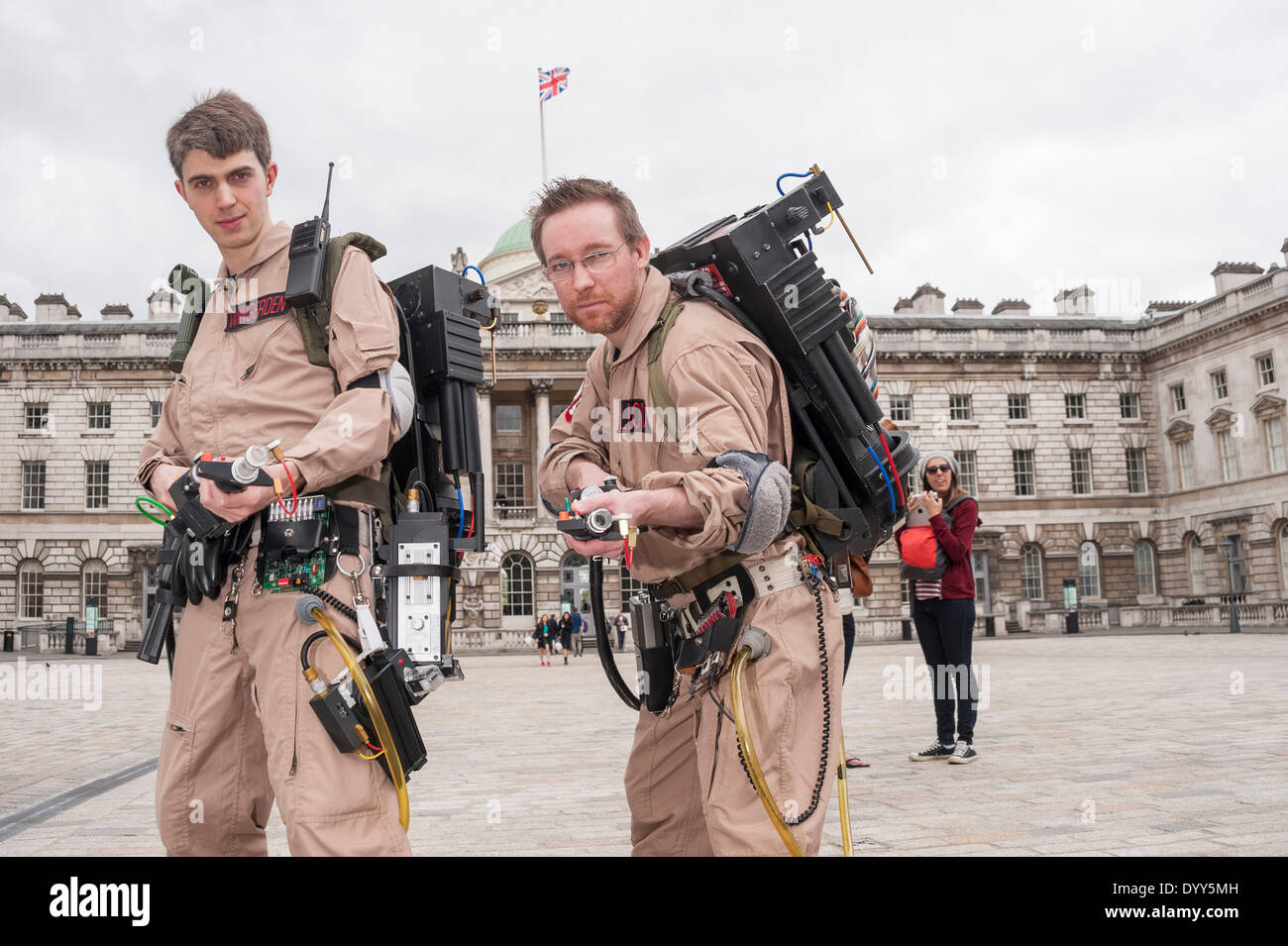 London, 27 April 2014 - people dressed as their favourite sci-fi characters take part in the Sci-Fi London 2014 costume parade starting at Somerset House and finishing at the BFI on the South Bank.  Two men dressed as characters from the movie, Ghostbusters.      Credit:  Stephen Chung/Alamy Live News - Stock Image