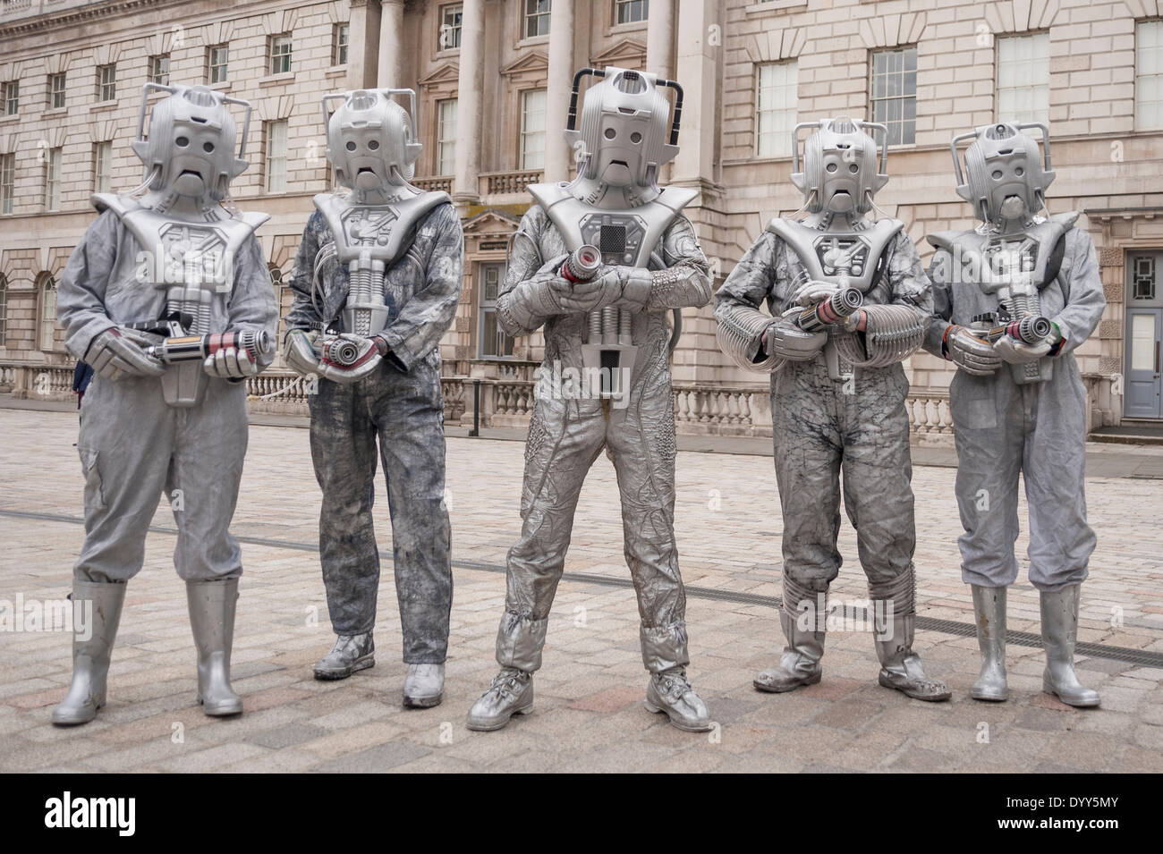 London, 27 April 2014 - people dressed as their favourite sci-fi characters take part in the Sci-Fi London 2014 costume parade starting at Somerset House and finishing at the BFI on the South Bank.  Cybermen at Somerset House.    Credit:  Stephen Chung/Alamy Live News - Stock Image