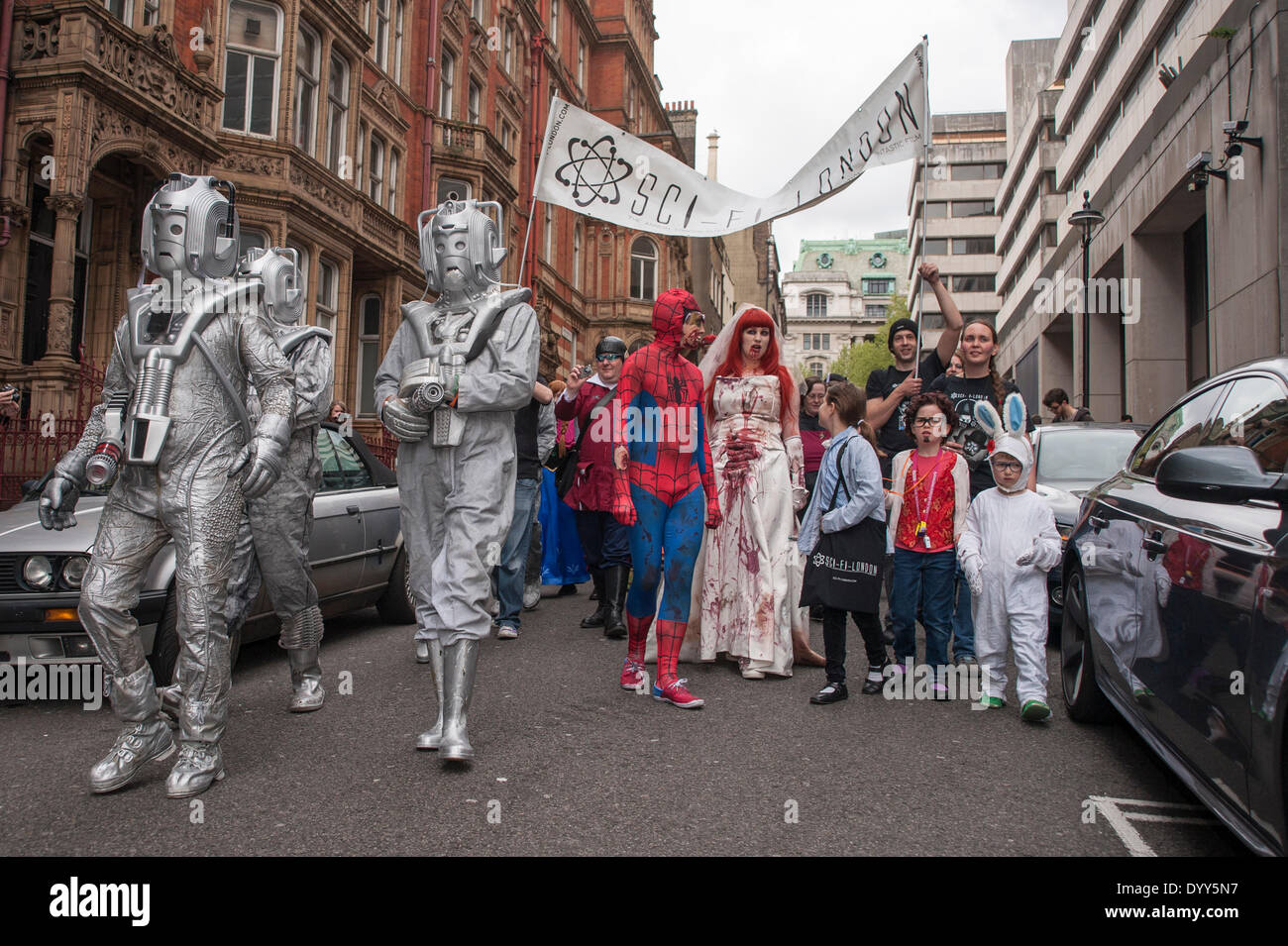 London, 27 April 2014 - people dressed as their favourite sci-fi characters take part in the Sci-Fi London 2014 costume parade starting at Somerset House and finishing at the BFI on the South Bank.  The parade passes near Aldwych.    Credit:  Stephen Chung/Alamy Live News - Stock Image