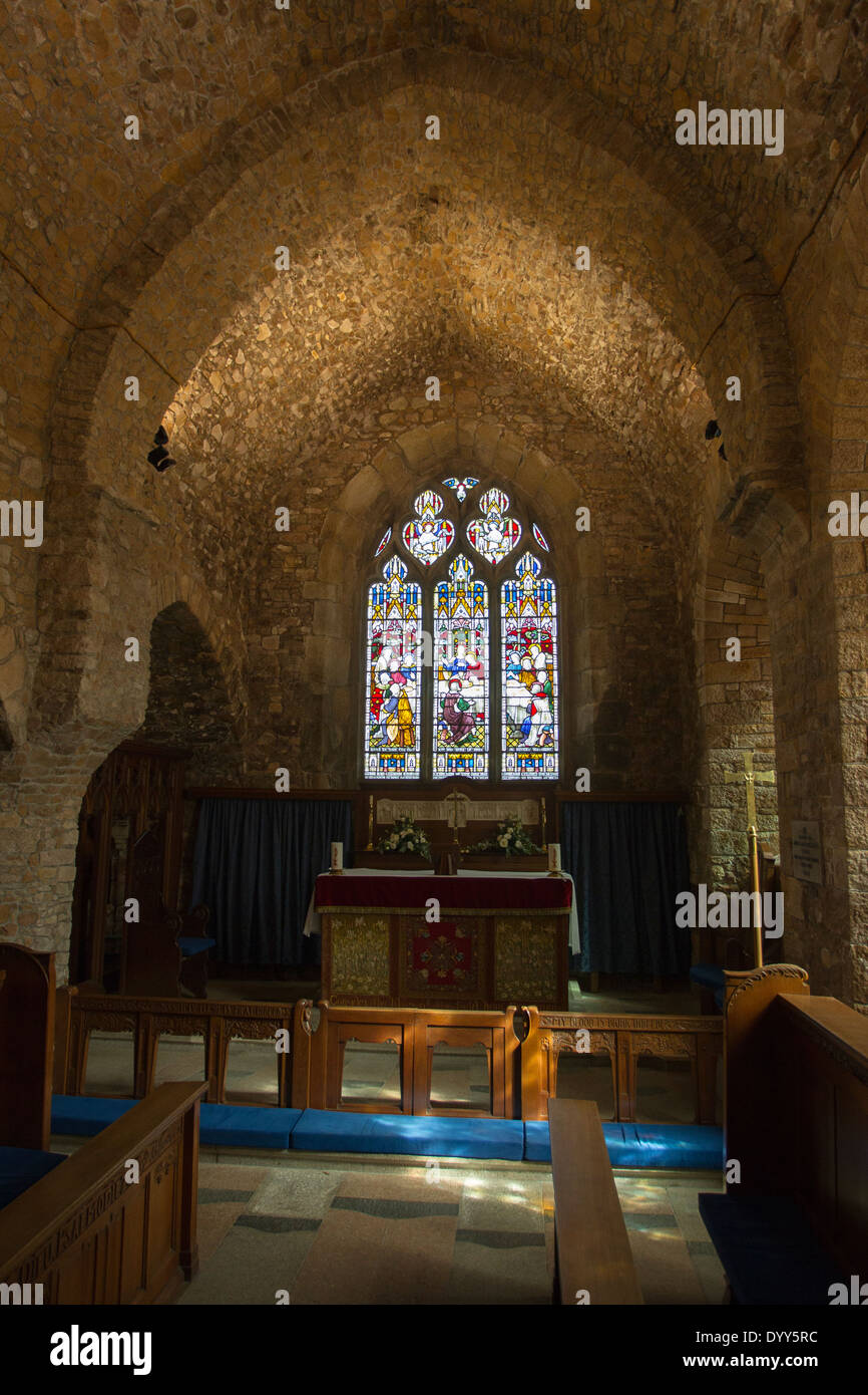 The Parish Church of St Brelade  with St Aubin on the Hill - Stock Image