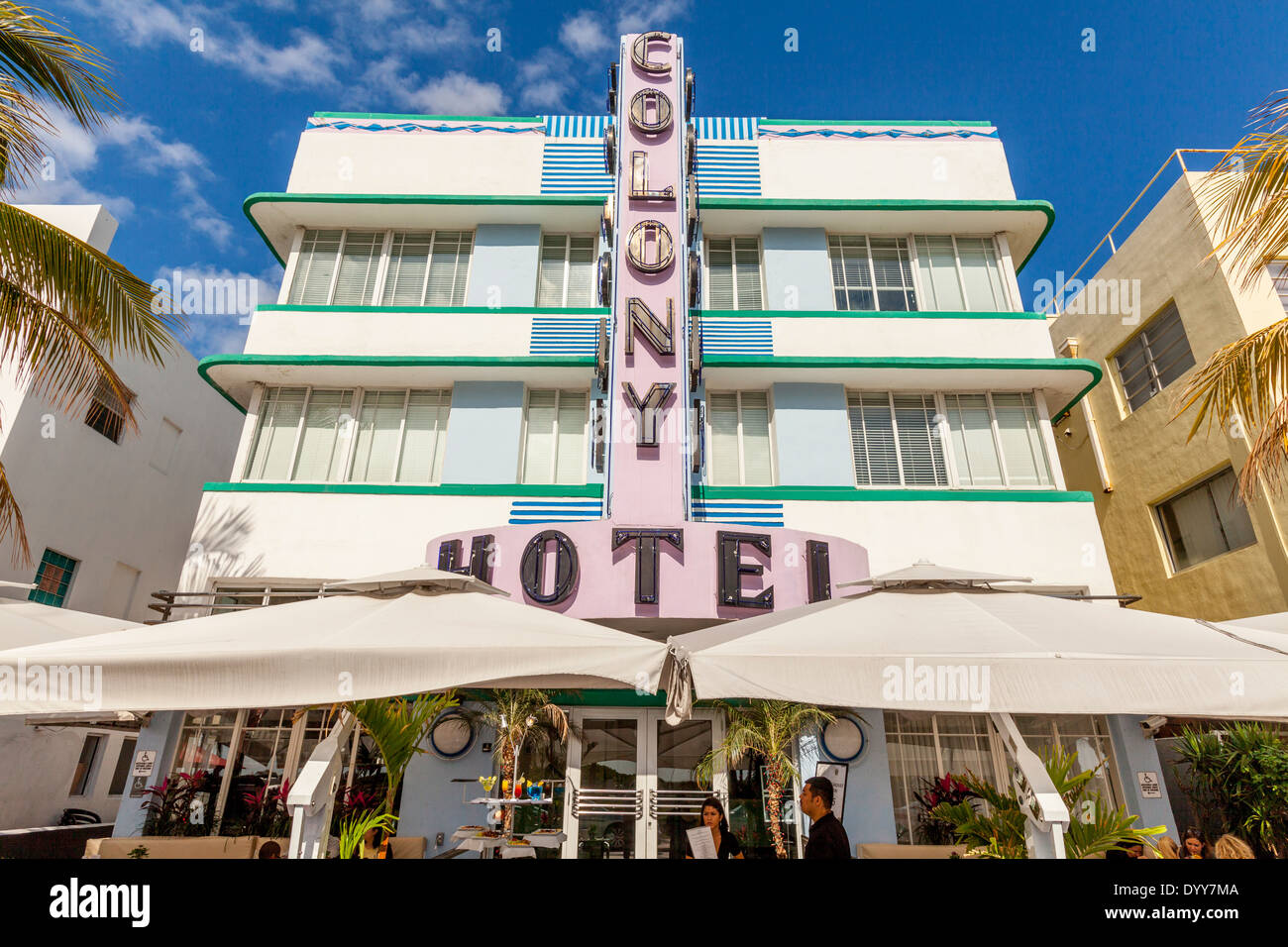 The Colony Hotel, South Beach, Miami, Florida, USA - Stock Image