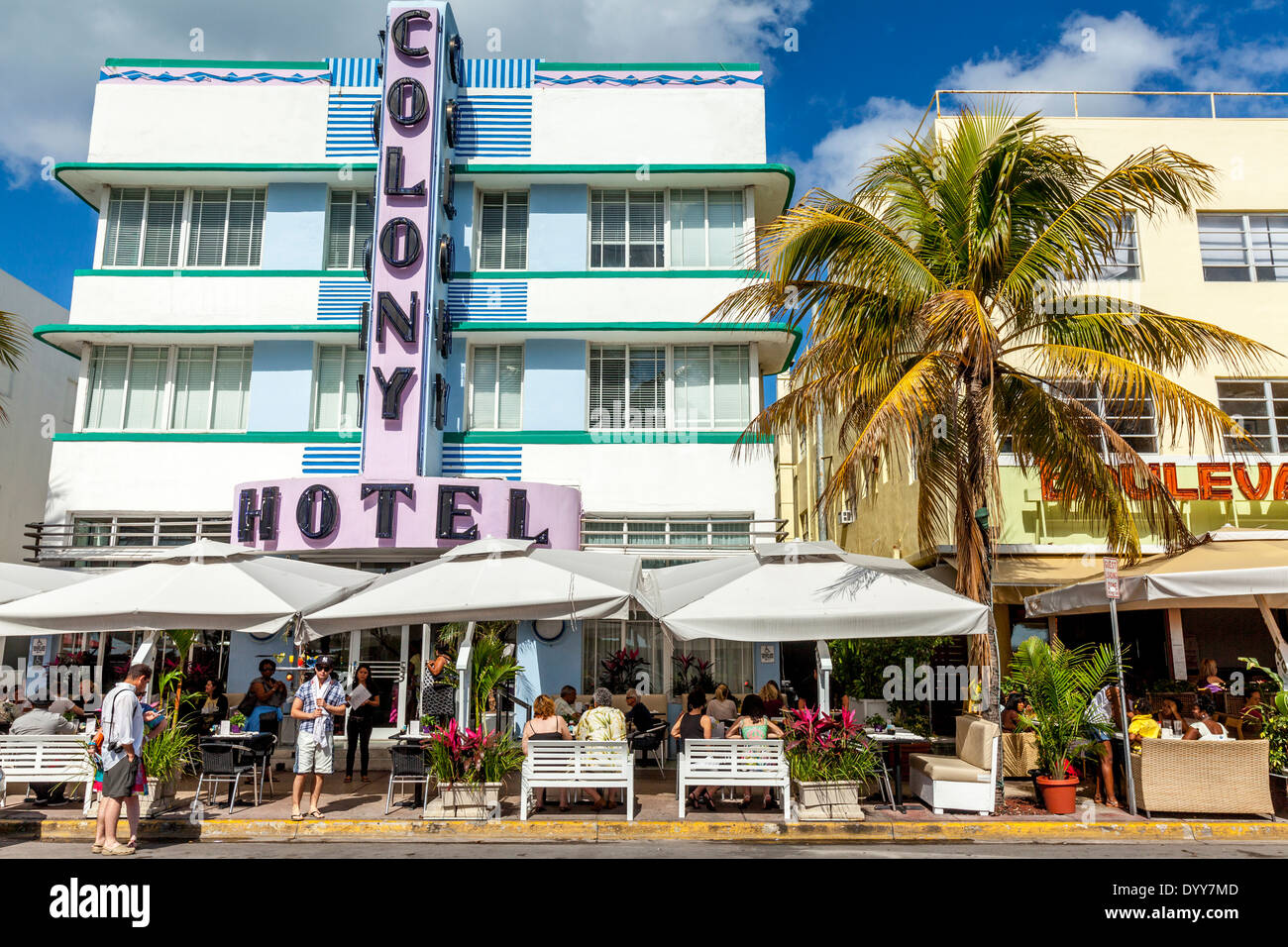 Cafe/Restaurant at The Colony Hotel, South Beach, Miami, Florida, USA - Stock Image