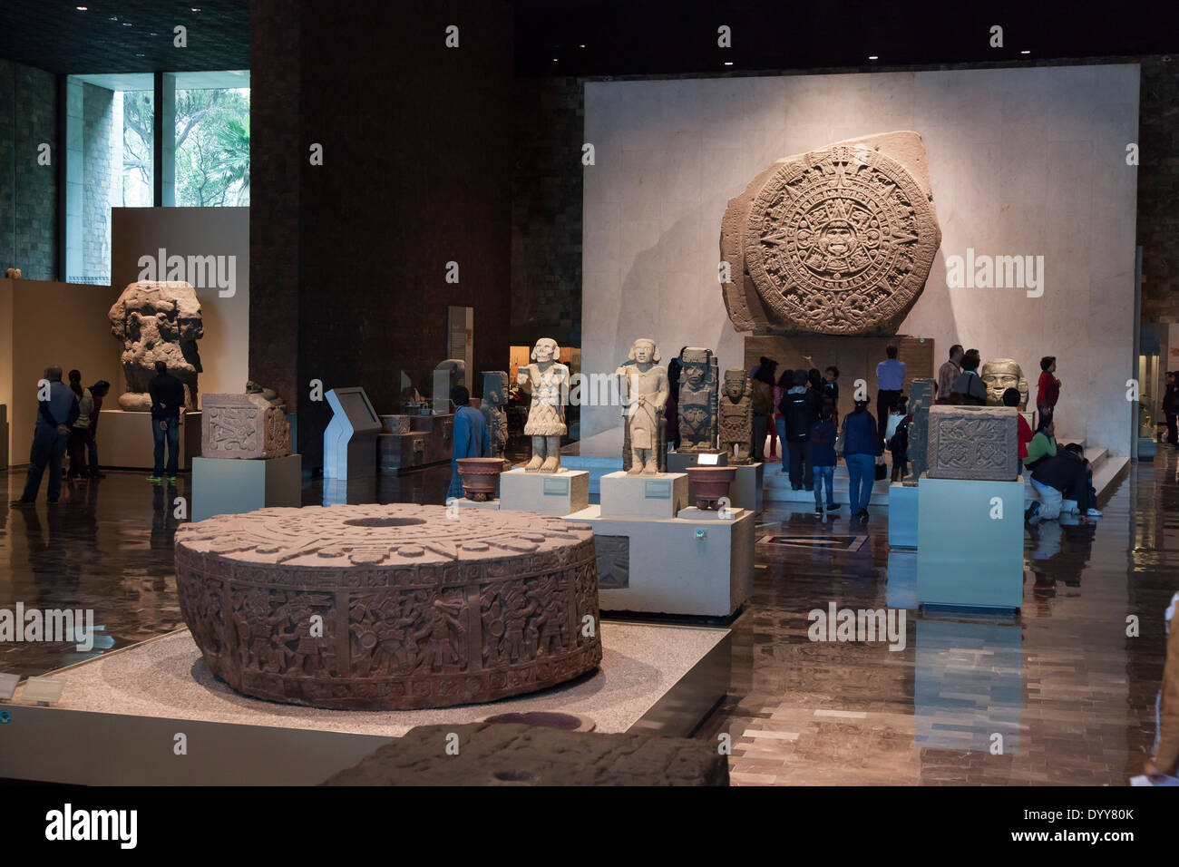 Sala Mexica at the National Museum of Anthropology - Miguel Hidalgo, Mexico City, Federal District, Mexico - Stock Image