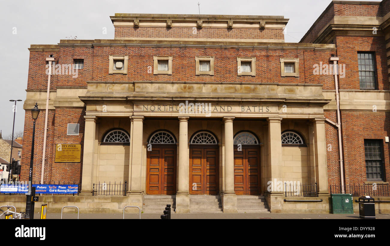 Northumberland Baths adjacent to City Hall, Newcastle upon Tyne, England, UK .  The baths closed in 2014 due to - Stock Image