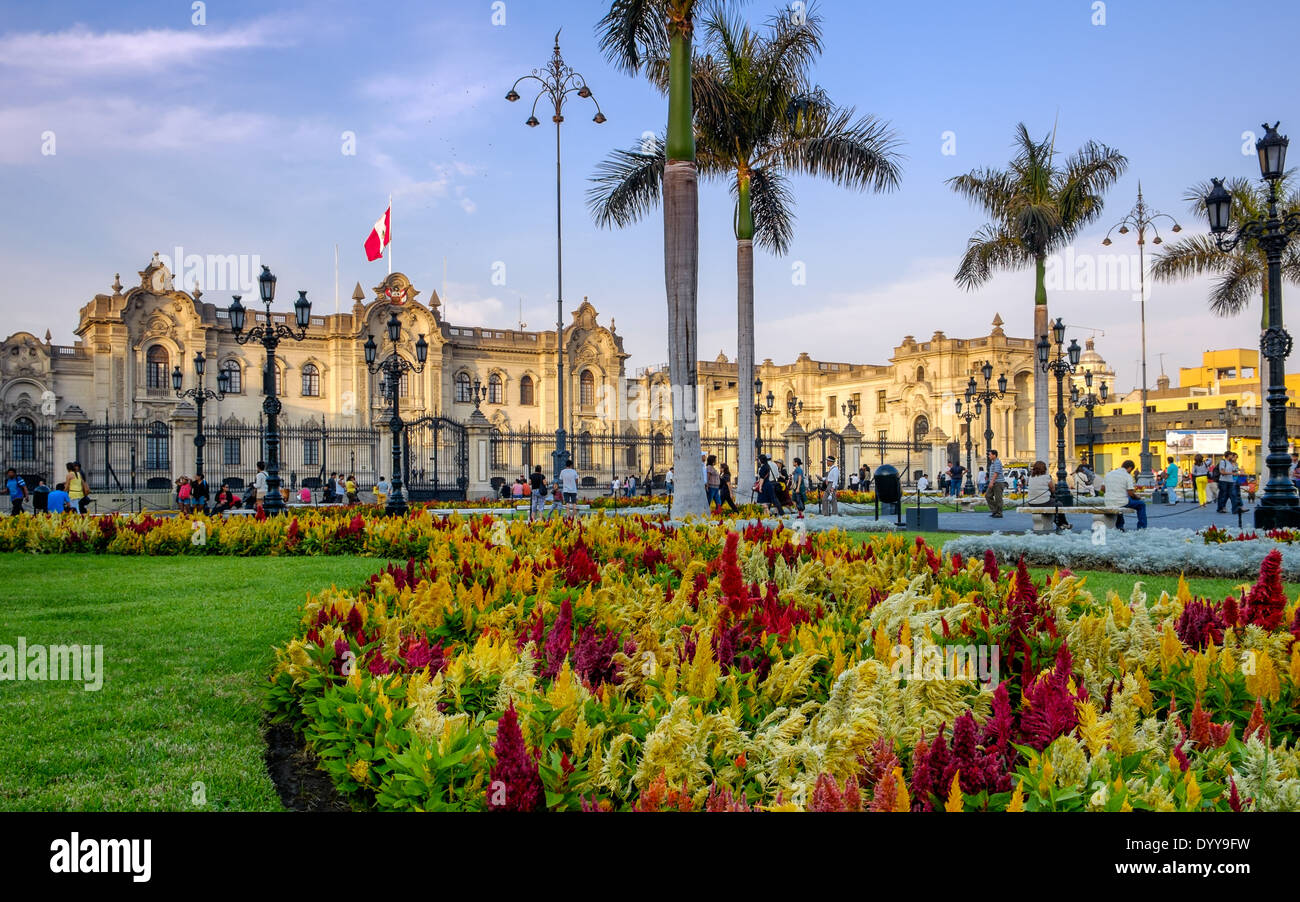 LIMA, PERU - CIRCA APRIL 2014: View of the Government Palace from the Plaza Mayor in the Lima Historic Centre in - Stock Image