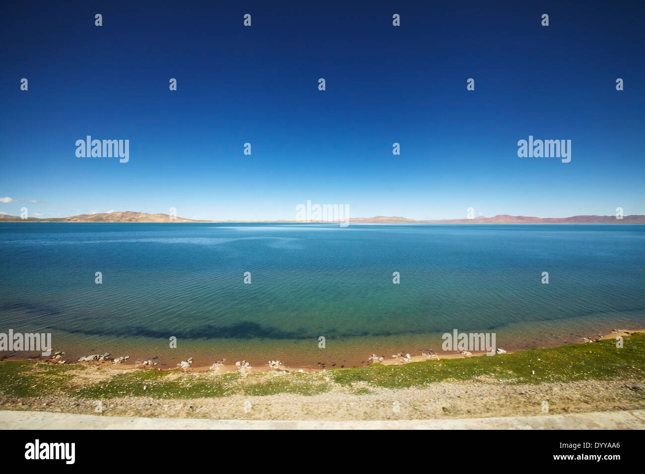 A view of the blue Qinghai lake from the Qinghai Tibet train. - Stock Image