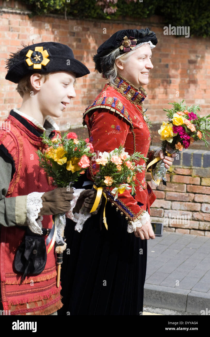 Two People dressed in Shakespearean Clothing for a parade in Stratford upon Avon England - Stock Image