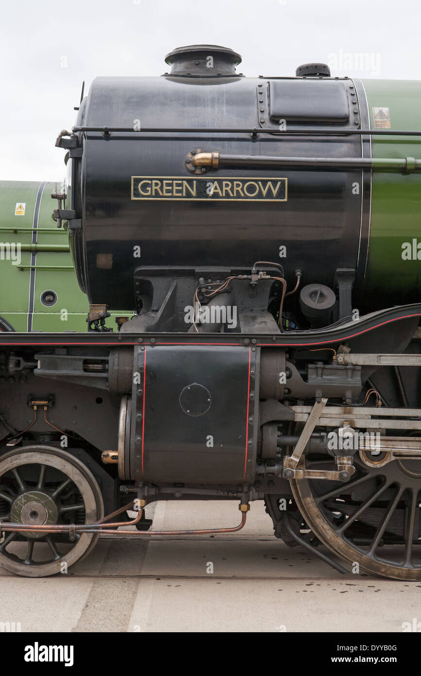 Front end and nameplate of steam train Green Arrow at Locomotion the National railway museum at Shildon Co. Durham, England, UK - Stock Image