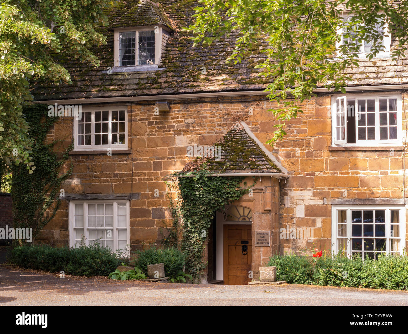 Careers and Higher Education Office in old stone cottage, Uppingham Private School, Rutland, England, UK - Stock Image