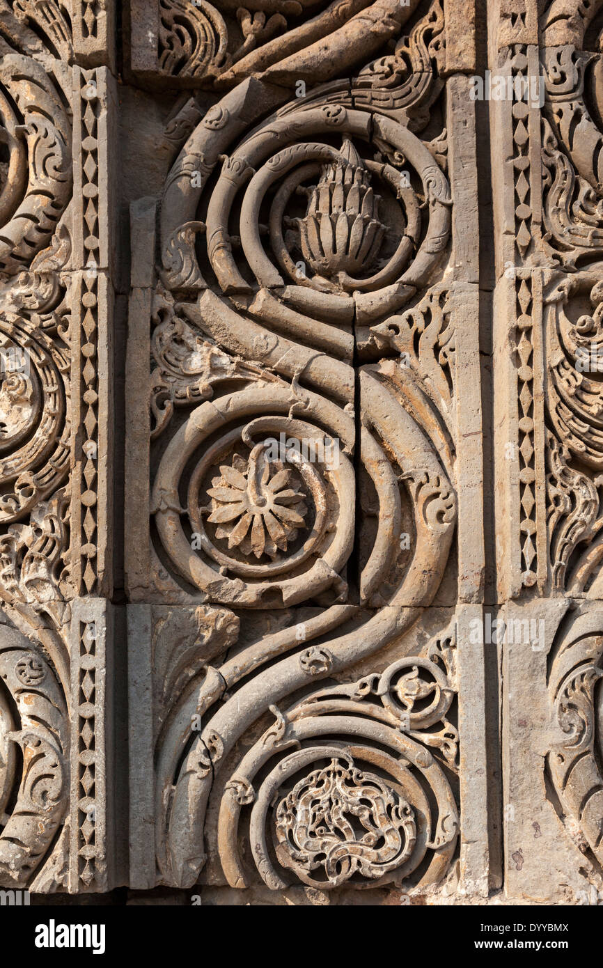 New Delhi, India. Decorative Stone Carving with Arabic Floral Motifs, Qutb Minar Complex. - Stock Image