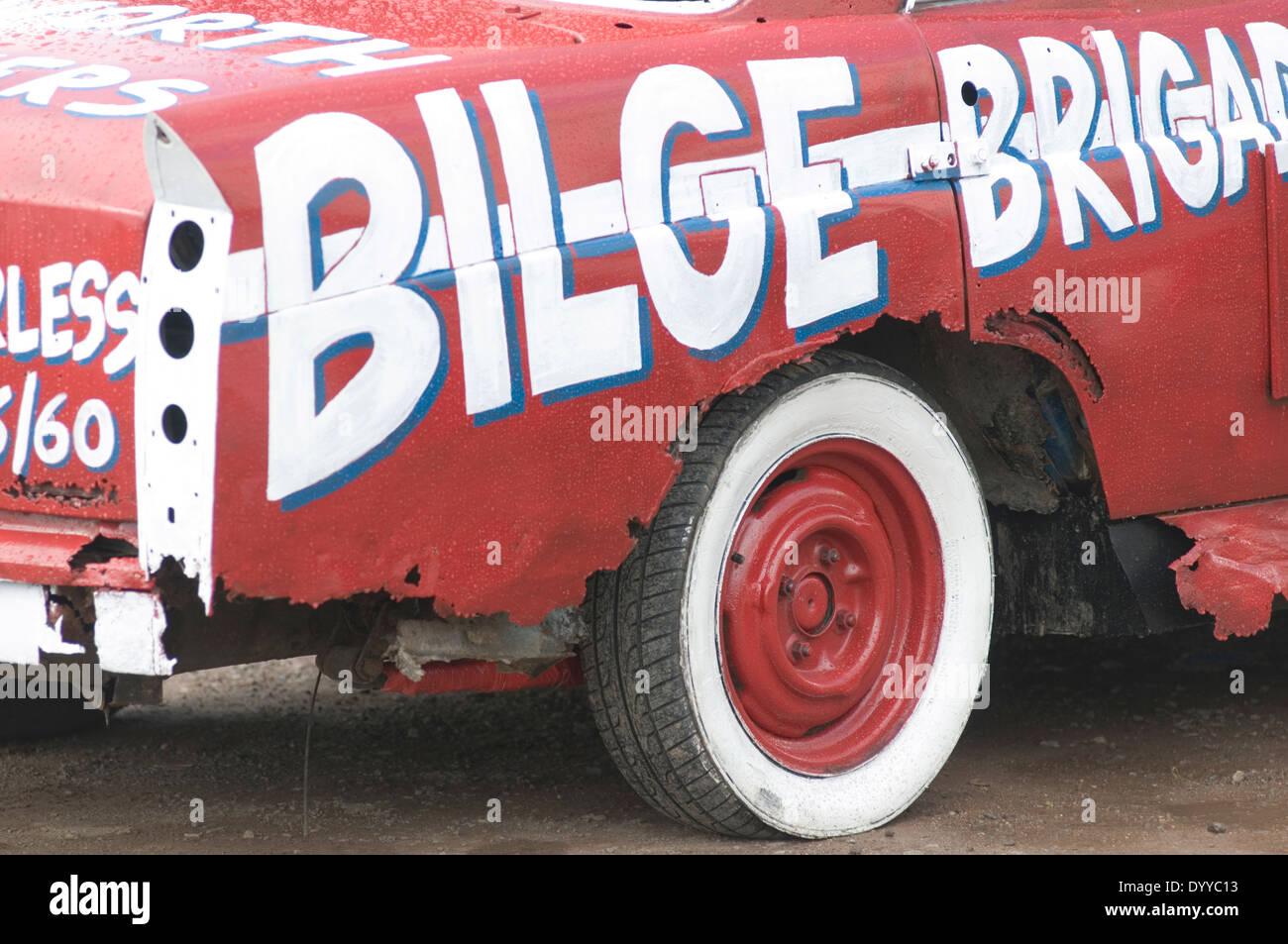 banger racing race races demolition derby destruction derby car cars old junk scrap rust rusty - Stock Image
