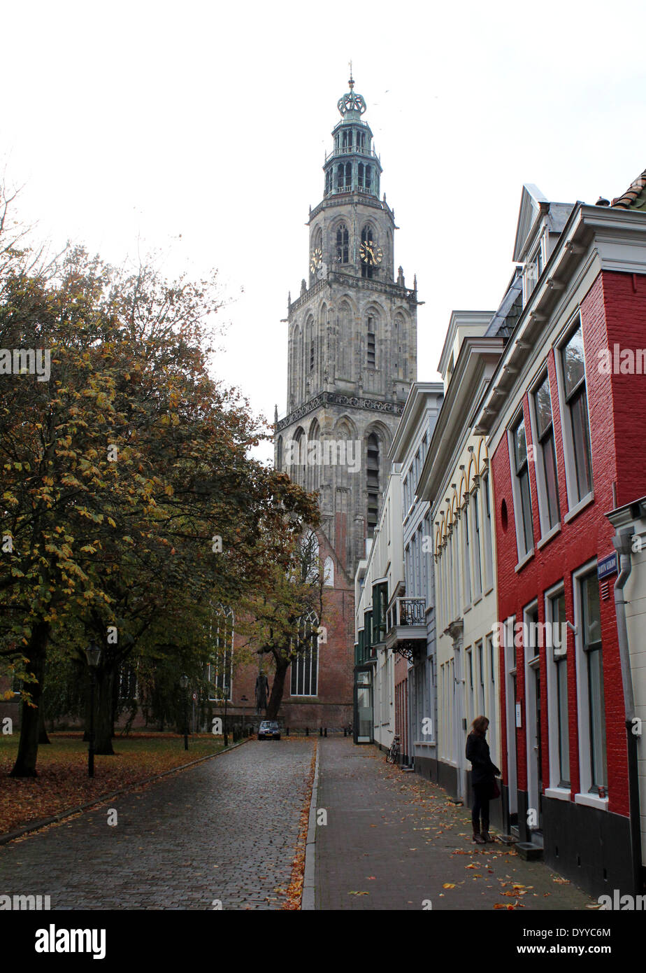 Martinikerhof in the old medieval center of  Groningen, The Netherlands with Martini church and Martinitoren tower Stock Photo