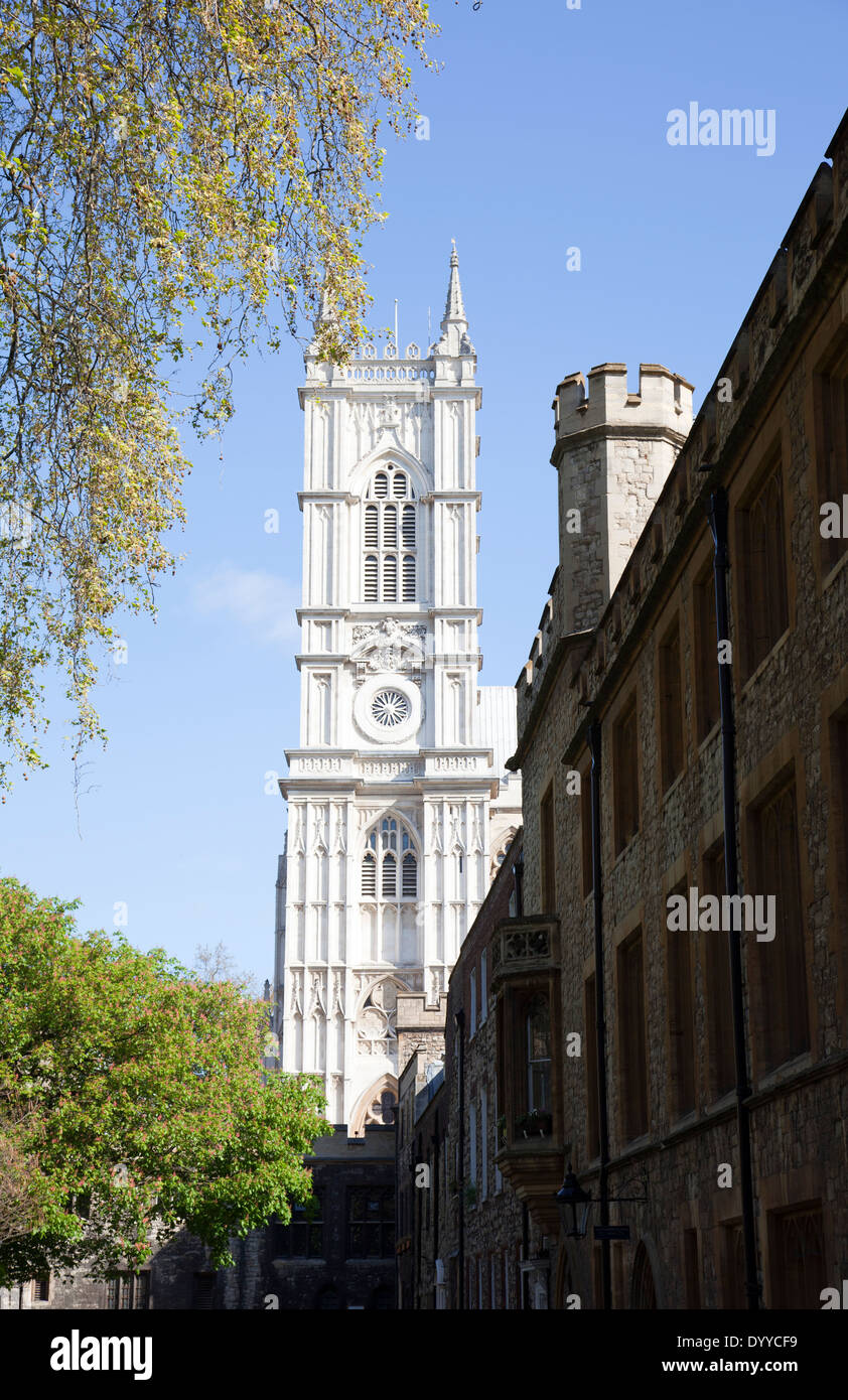 Westminster Abbey Tower viewed from Dean's Yard - Westminster - London UK - Stock Image