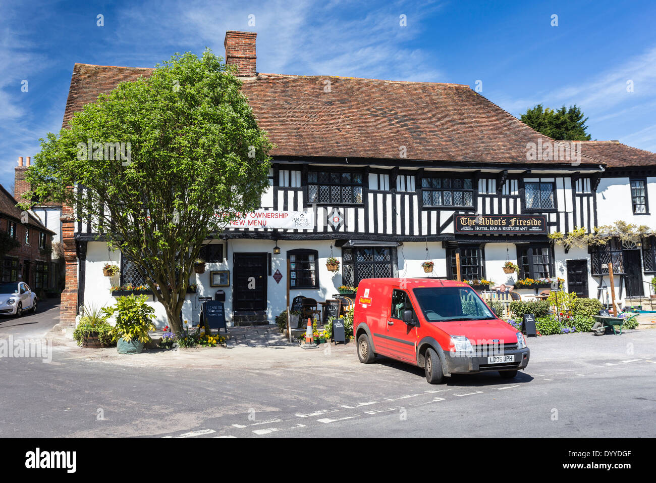 Post Office Van outside the Abbots Fireside Hotel in The Pretty Village of Elham Kent - Stock Image