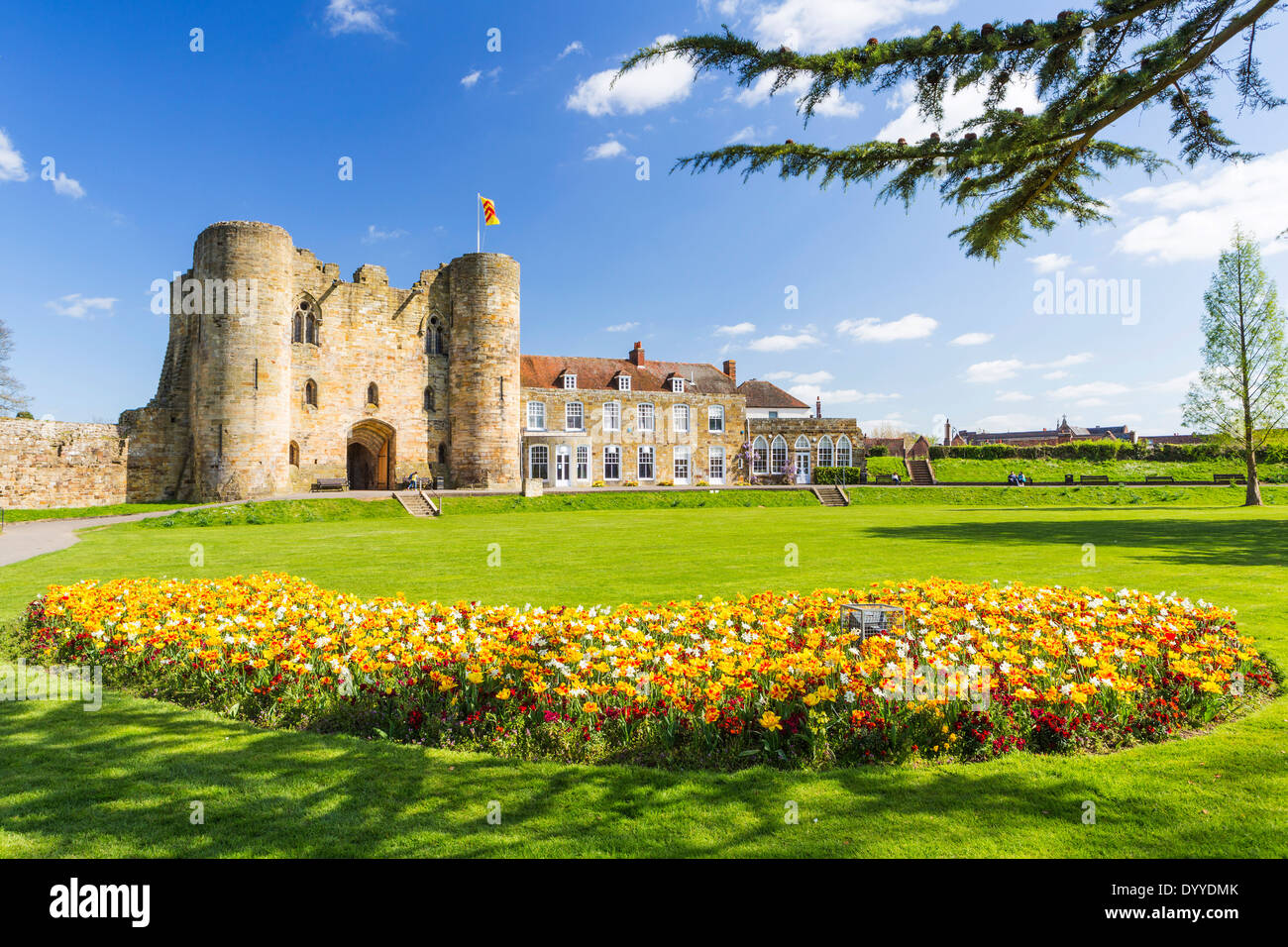 Tonbridge Castle in Springtime - Stock Image