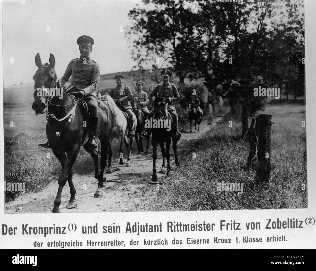 Crown Prince of Prussia on a ride out with German officers, 1914 - Stock Image