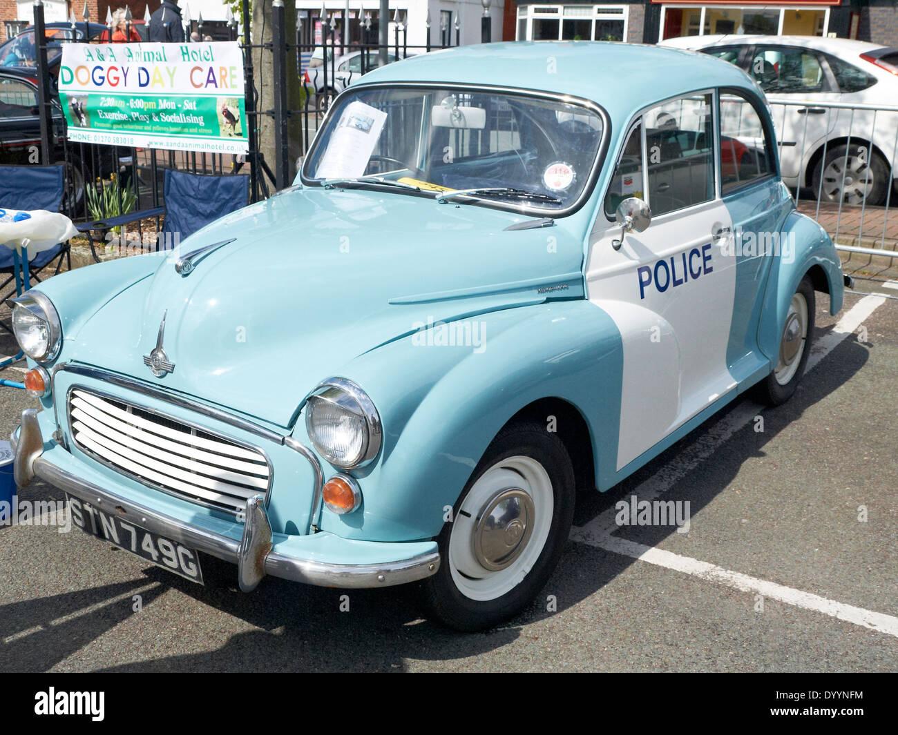 Morris Minor police car on display in Sandbach Cheshire UK Stock Photo