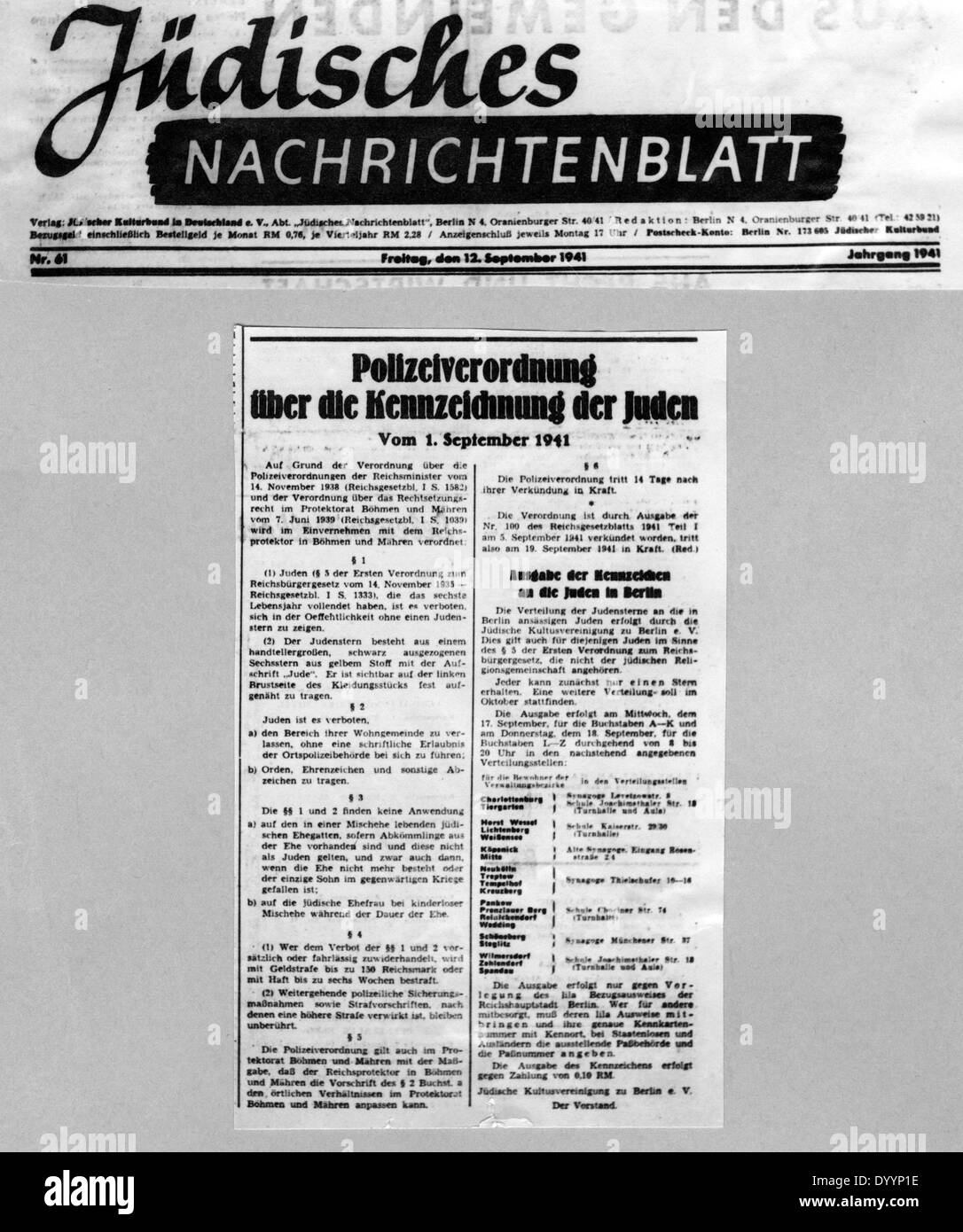 Police regulations about the identification of Jews, 1941 - Stock Image