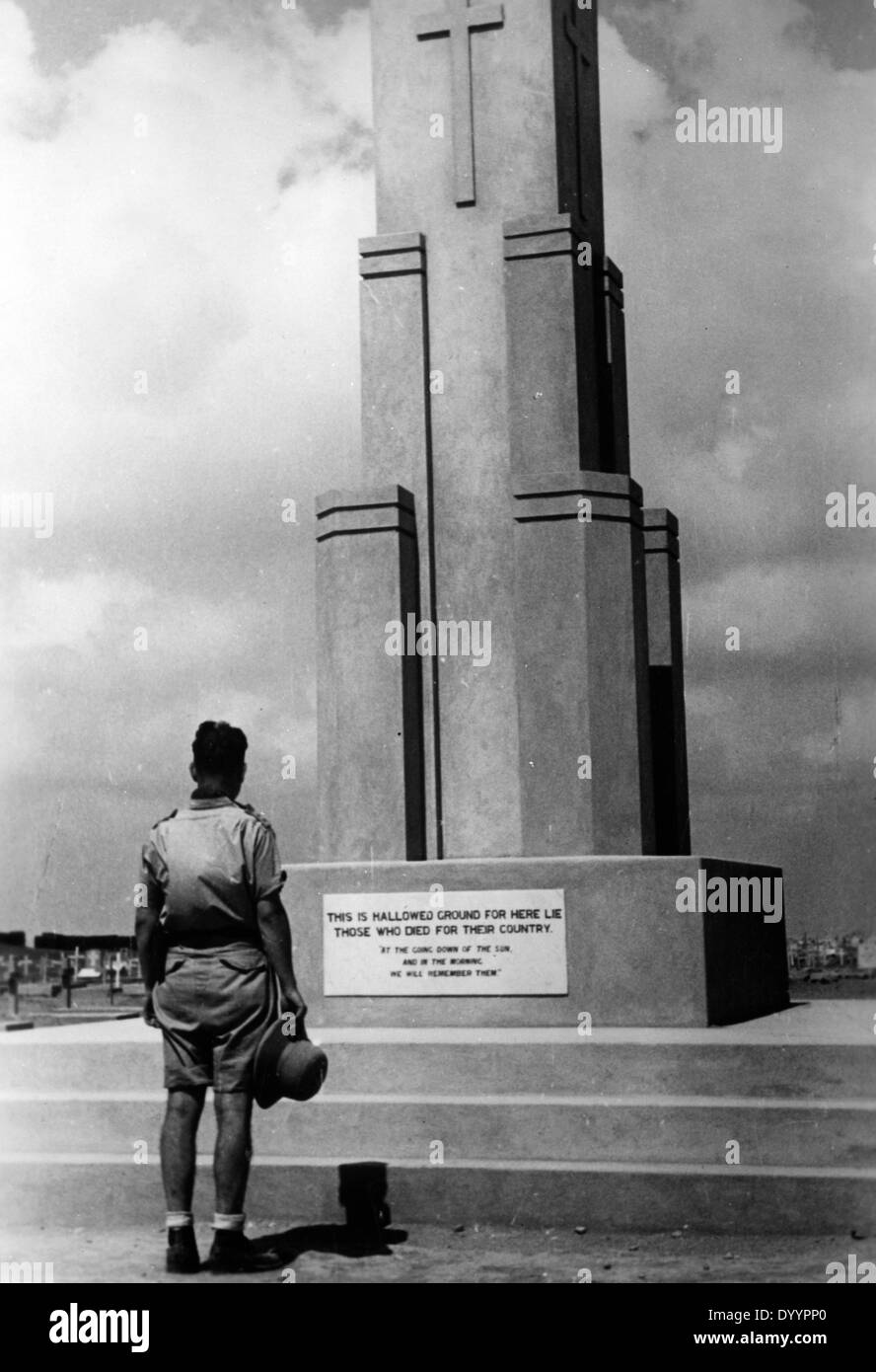 An English soldier in front of the British memorial in Tobruk, 1942Stock Photo