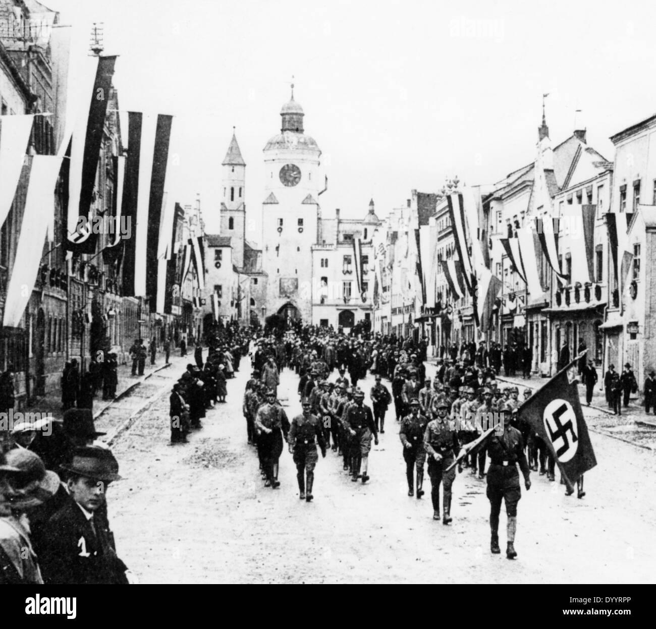 SA march in Vilsbiburg, 1933 - Stock Image