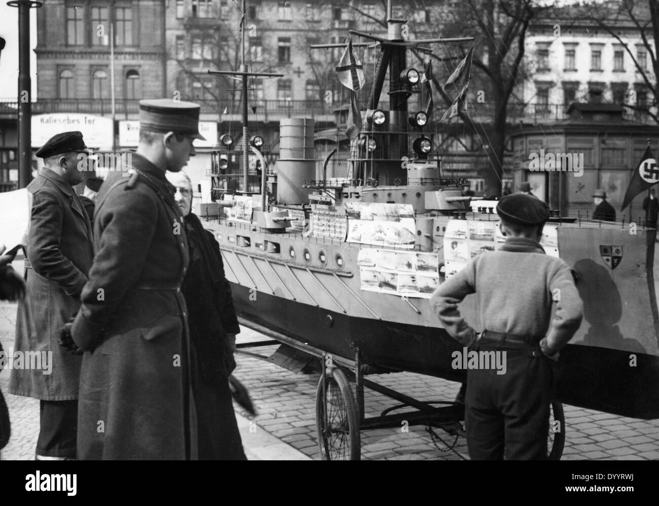 Model of a sunk armored cruiser in Berlin, 1933 - Stock Image