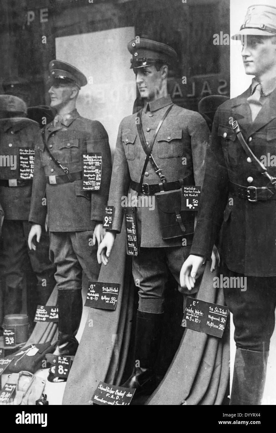 Store with uniforms in Berlin, 1933 - Stock Image