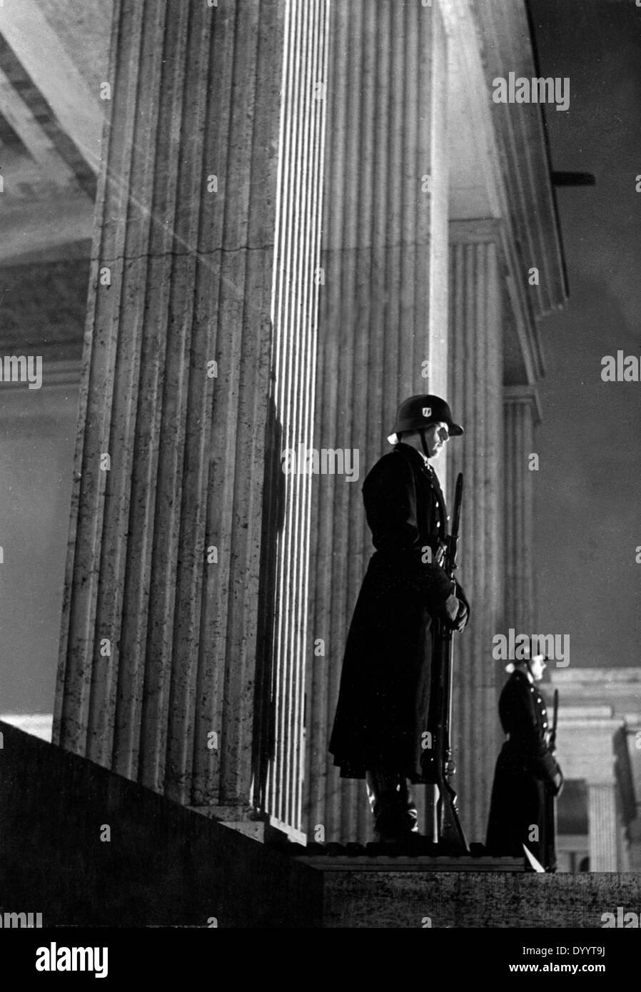 SS Honours Guards at the Munich Königsplatz, 1936 Stock Photo