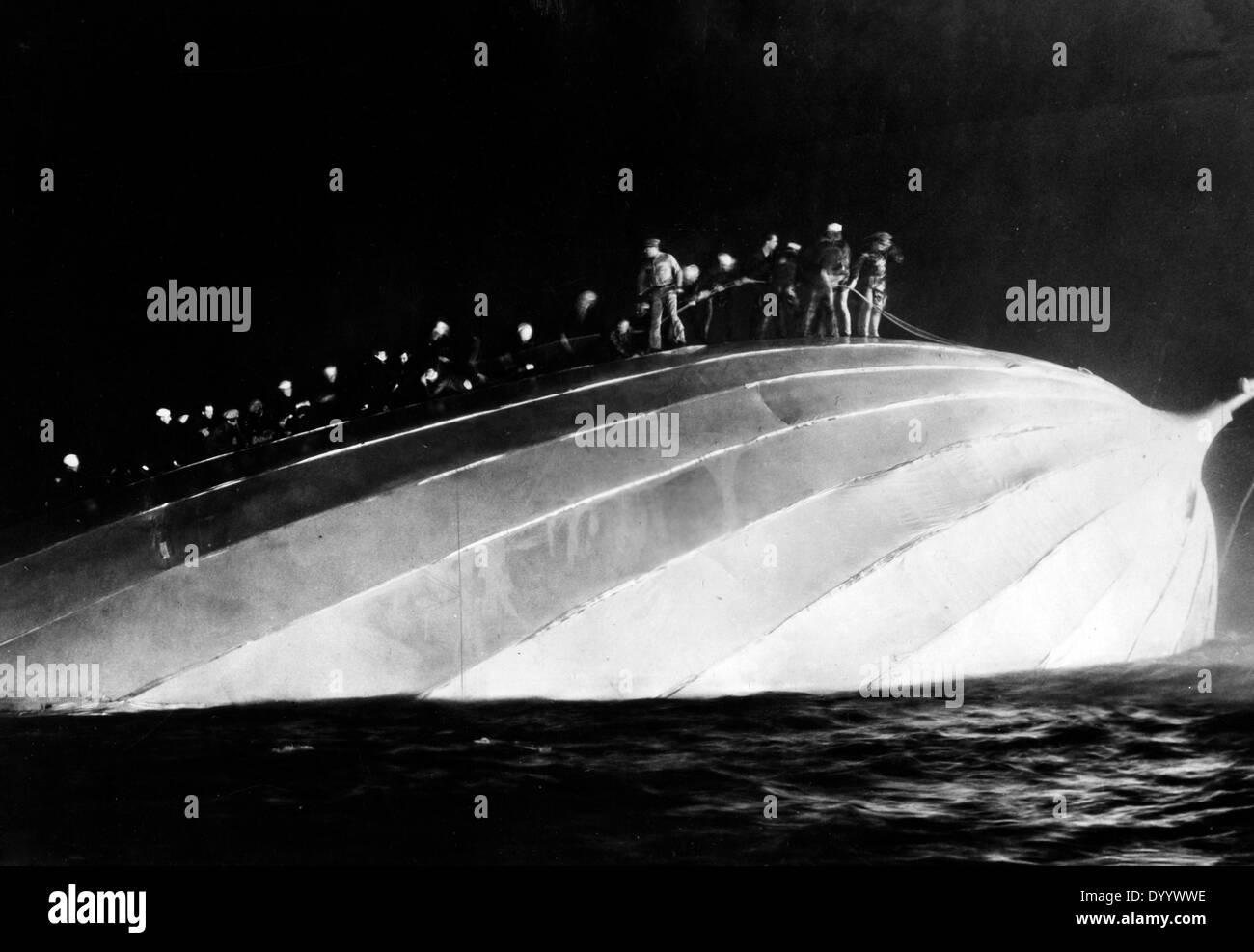 Sinking of airship L 19 - Stock Image