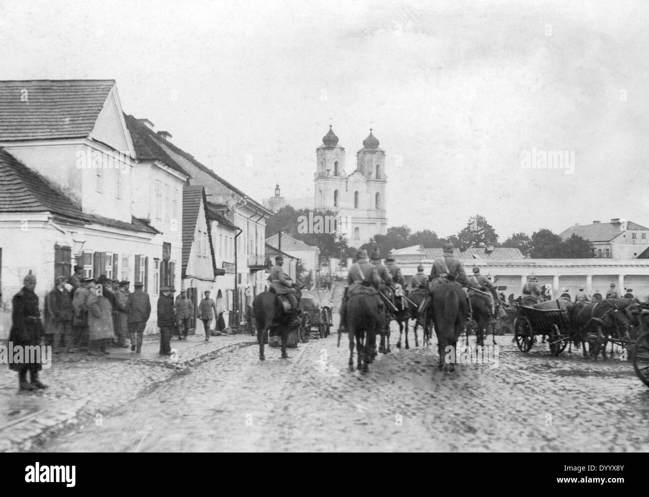 German troops in a Russian border town, 1914 - Stock Image
