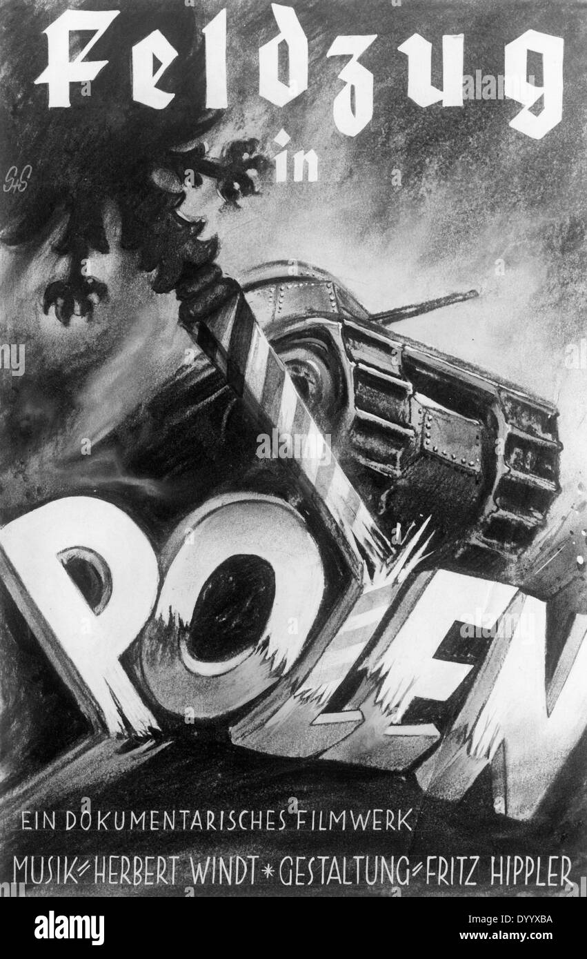 German troops,1939, Movie poster 'Campaign in Poland', 1940 - Stock Image
