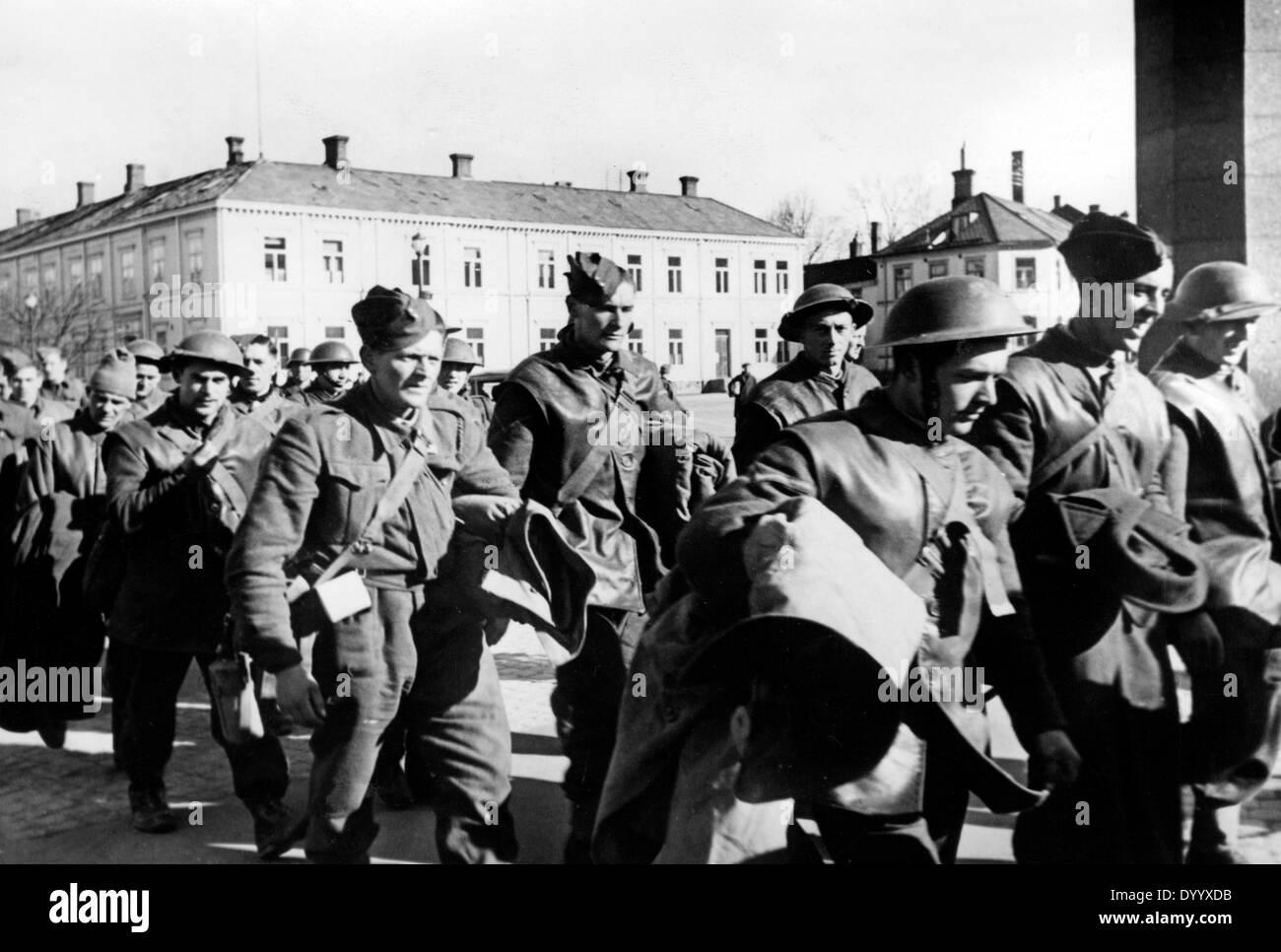 British prisoners of war in a German internment camp in Trondheim, 1940 Stock Photo
