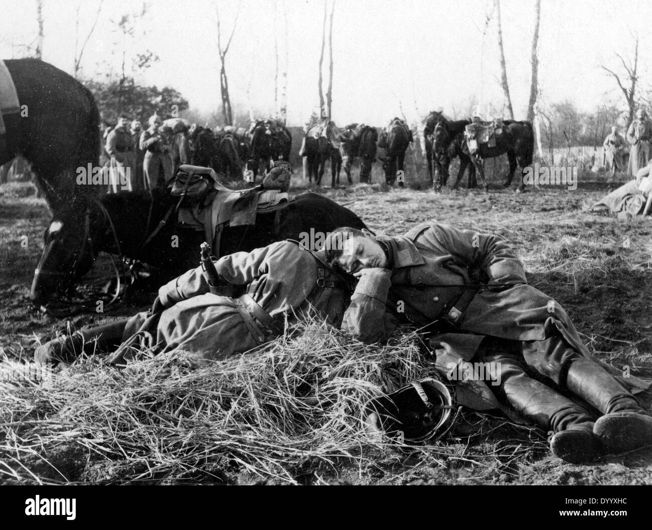 German soldiers rest close to the river Bzura, 1915 - Stock Image