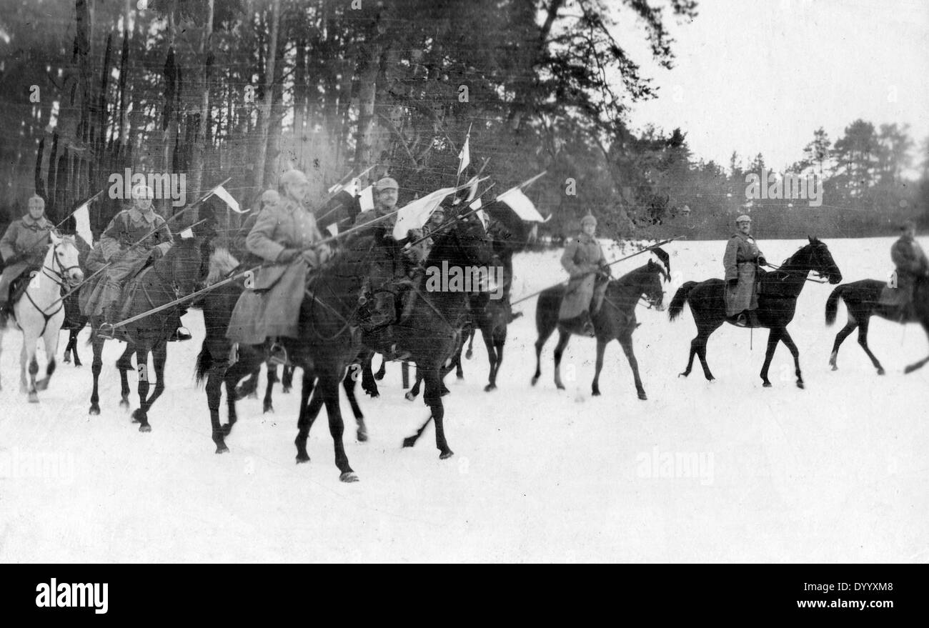 German cavalry patrol at the Eastern Front, 1916 - Stock Image