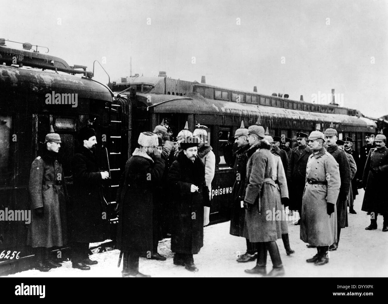 Russian delegation at the station of Brest-Litovsk, 1918 - Stock Image