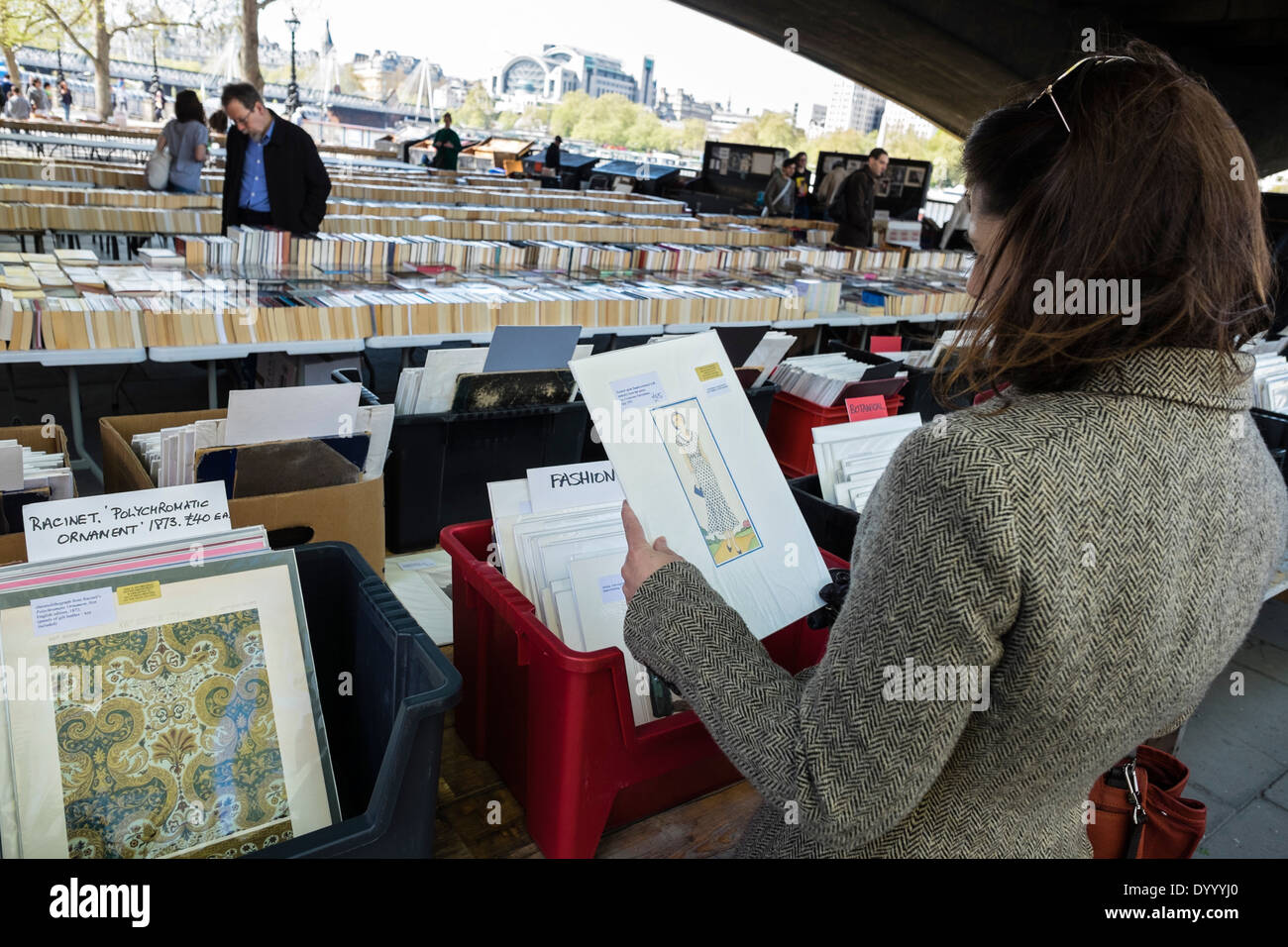 Second-hand book stalls on the Thames at Southbank in central London United Kingdom - Stock Image
