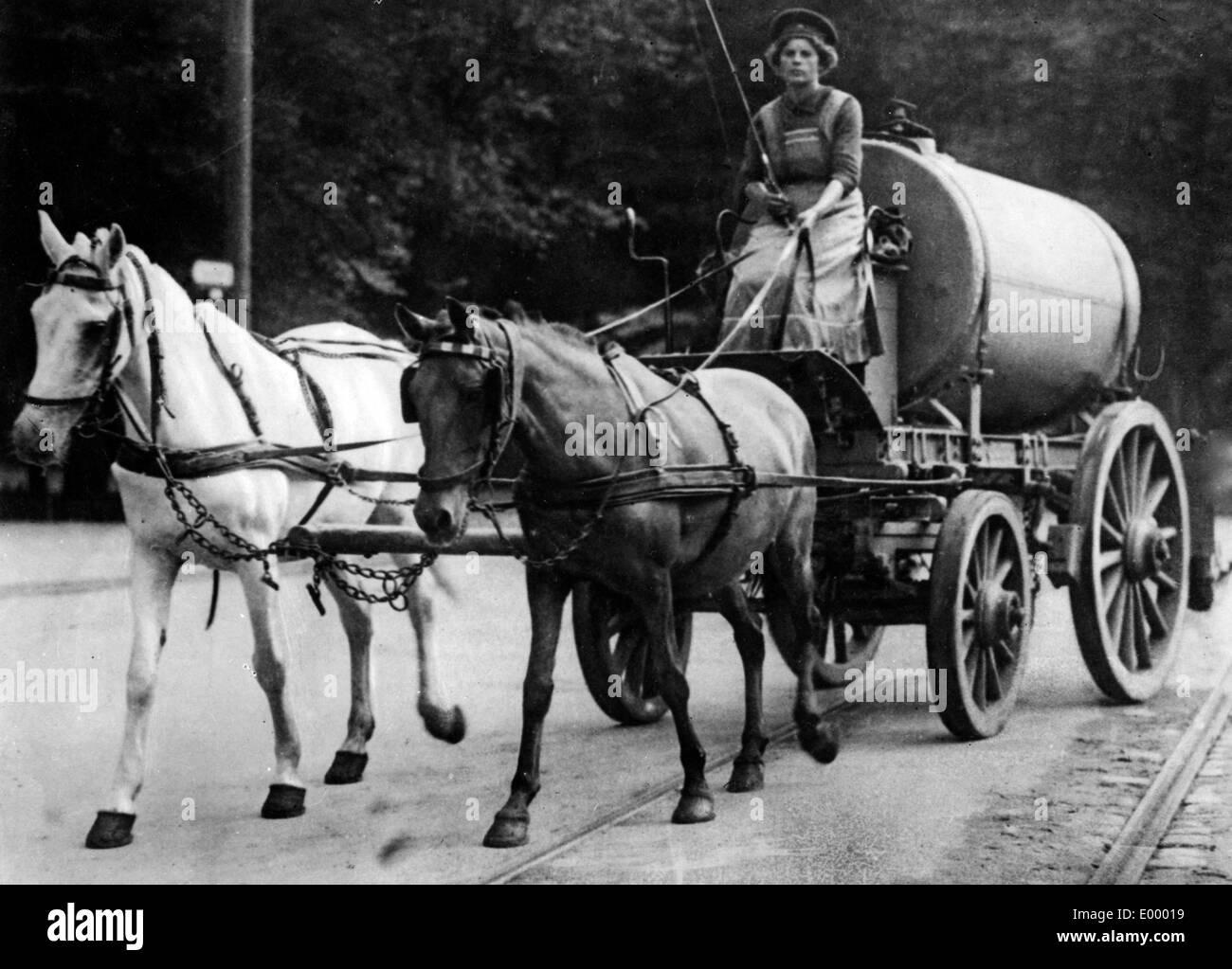 Female coachman in Berlin - Stock Image
