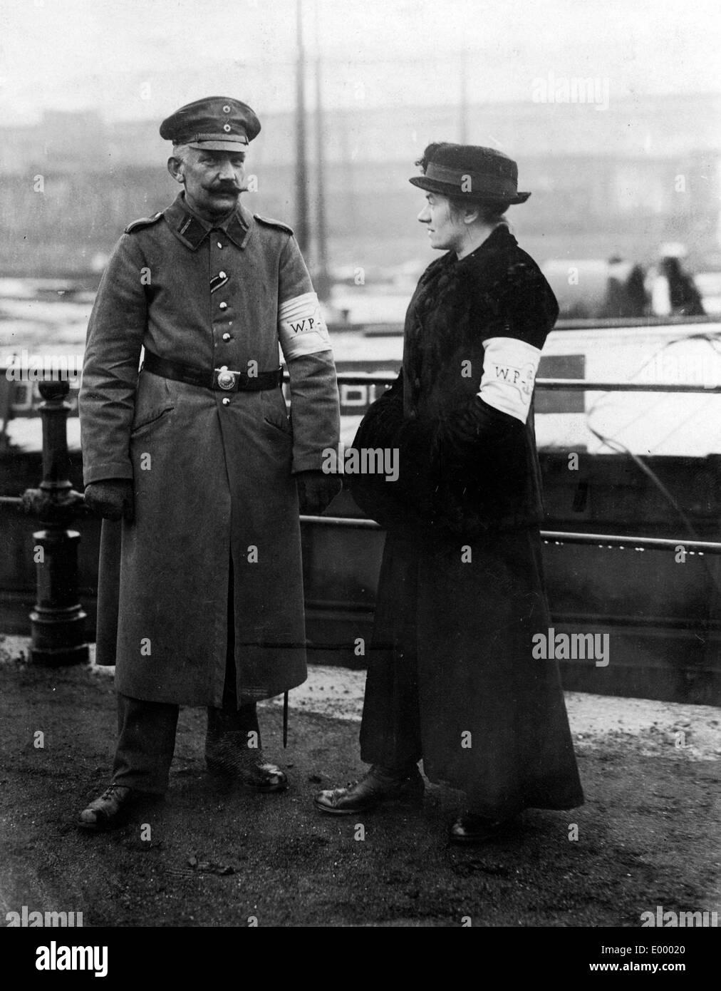 Members of the German water police, 1917 Stock Photo