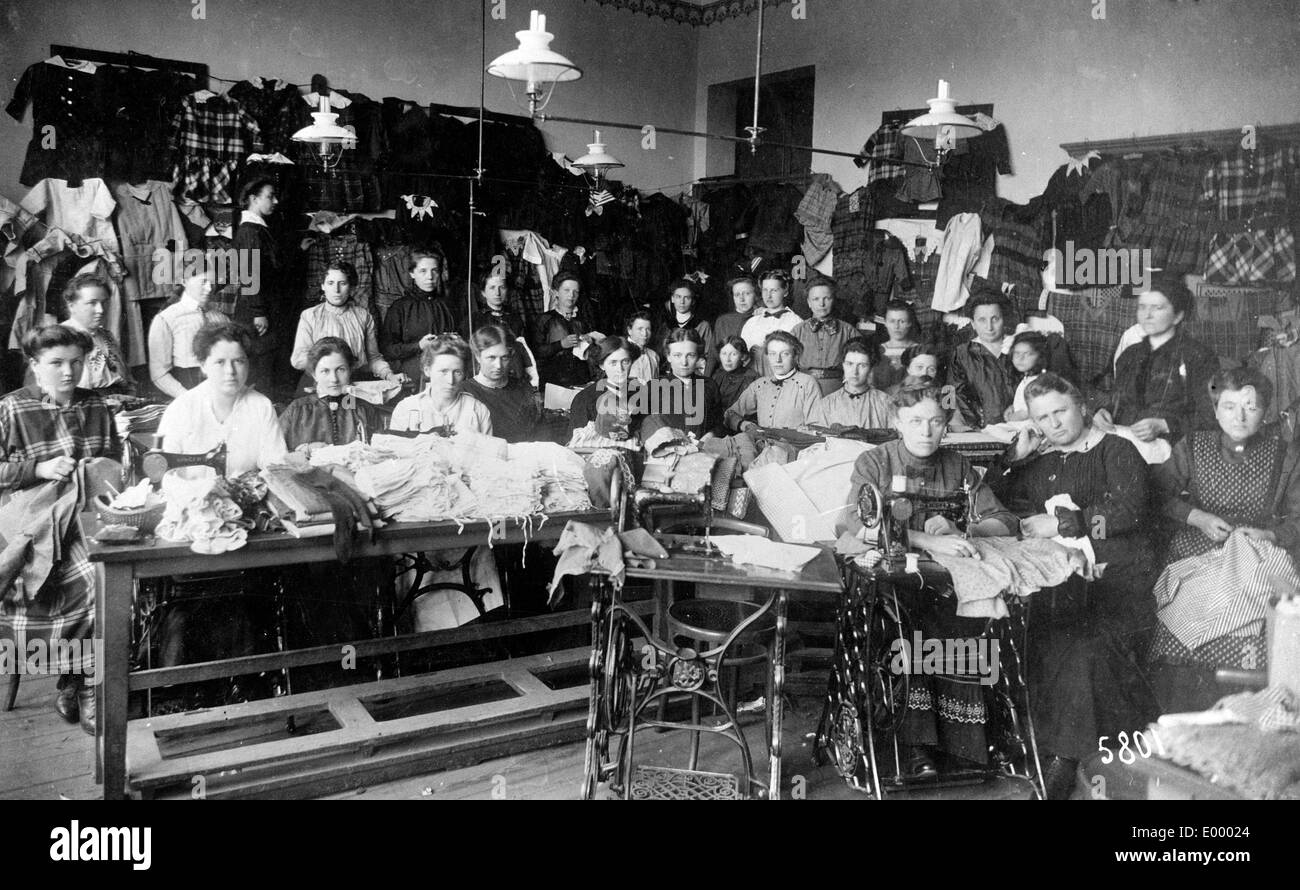 Sewing room of the Red Cross, 1917 Stock Photo