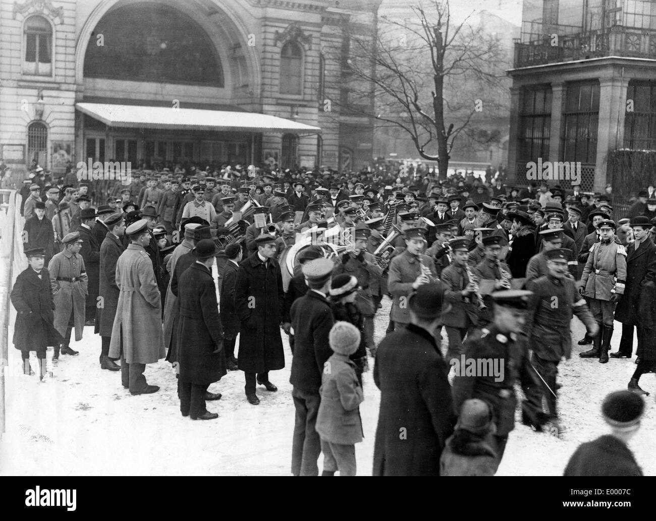 Marching band of the youth companies, 1917 Stock Photo