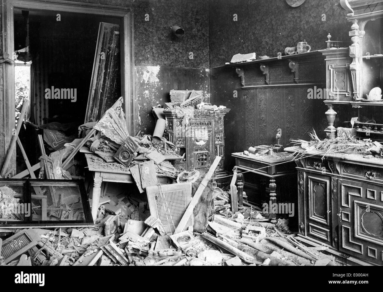 Demolished flat in Frankfurt, 1918 - Stock Image