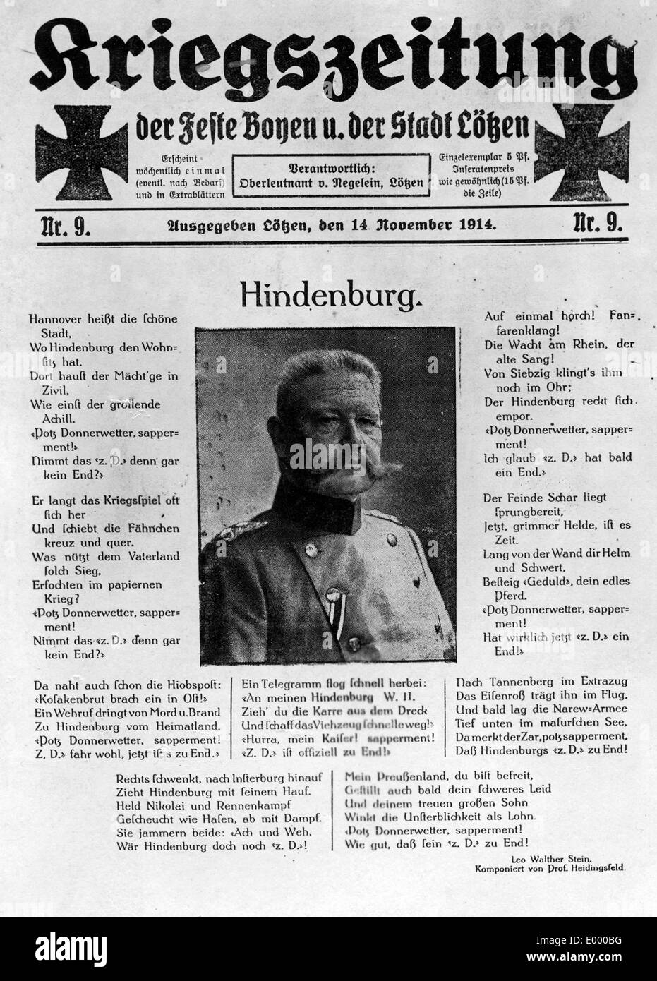 Front page of a German war newspaper, 1914 - Stock Image
