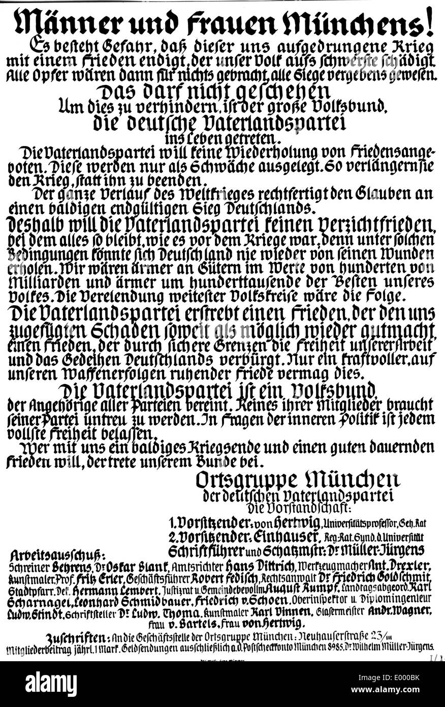 Flyer of the 'German fatherland party', 1917 - Stock Image
