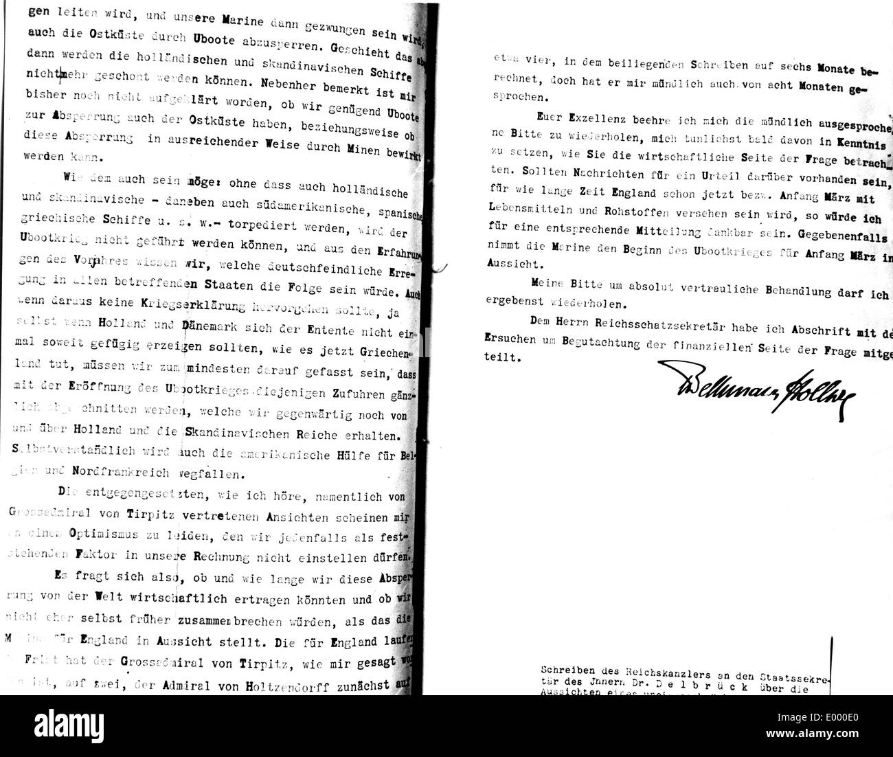Letter about submarine warfare, 1916 - Stock Image