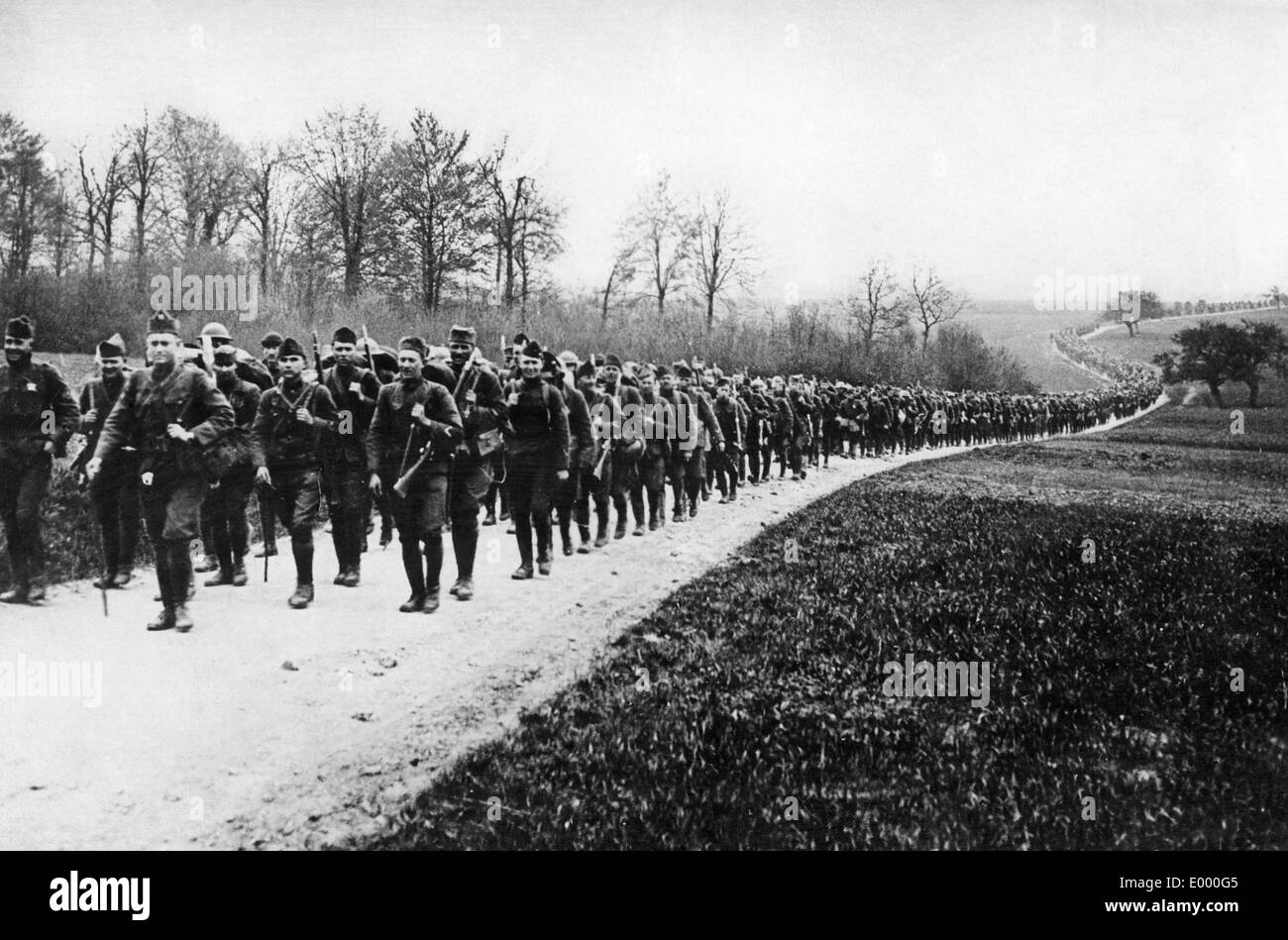 American troops on the way to the front, 1917 Stock Photo