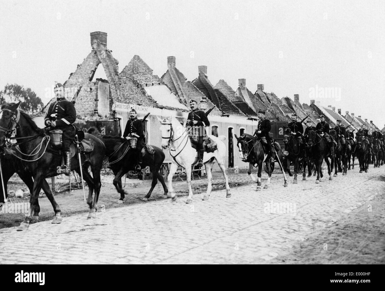 Belgian cavalry at the Western front, 1914 - Stock Image