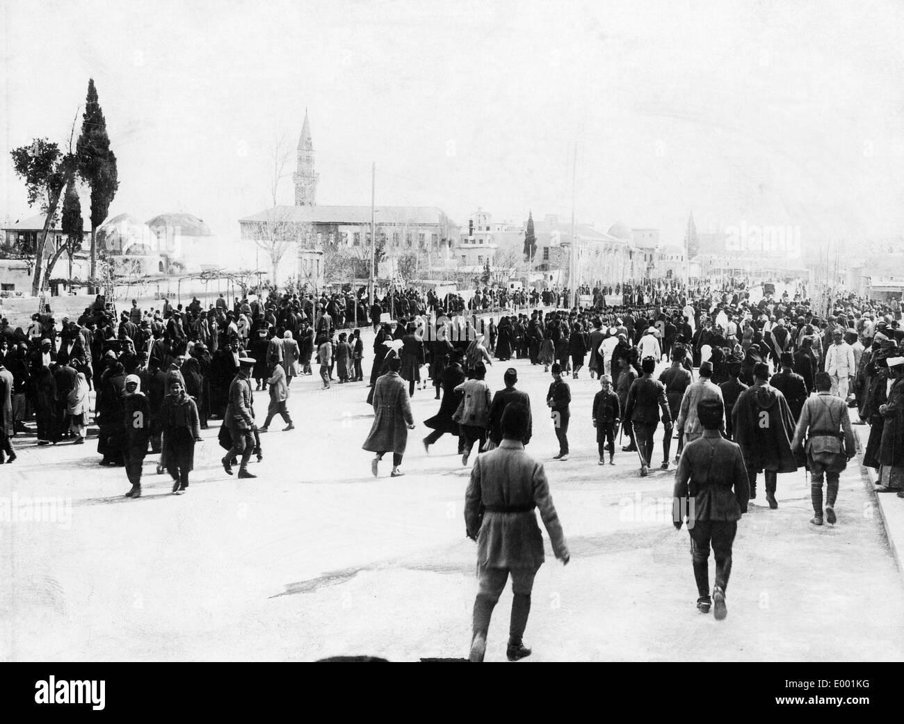 Turkish troops in Damaskus in World War I, 1917 - Stock Image