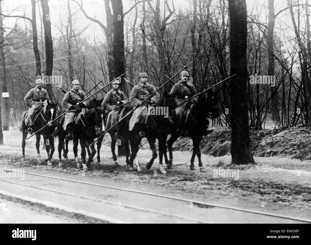 German cavalry in Northern France, 1914 - Stock Image