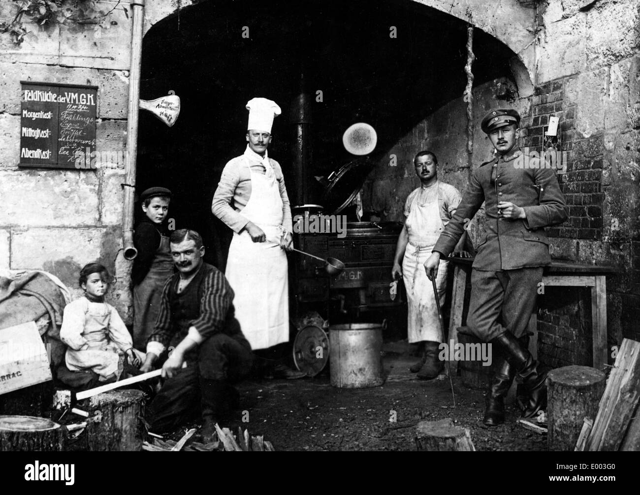 German field kitchen in a position on the Western Front