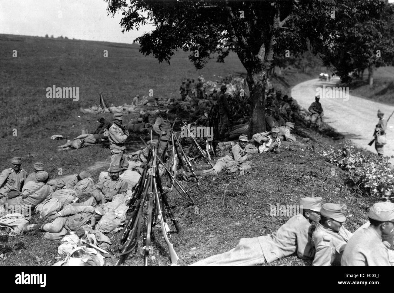 Austro-Hungarian troops during a halt, 1915 Stock Photo